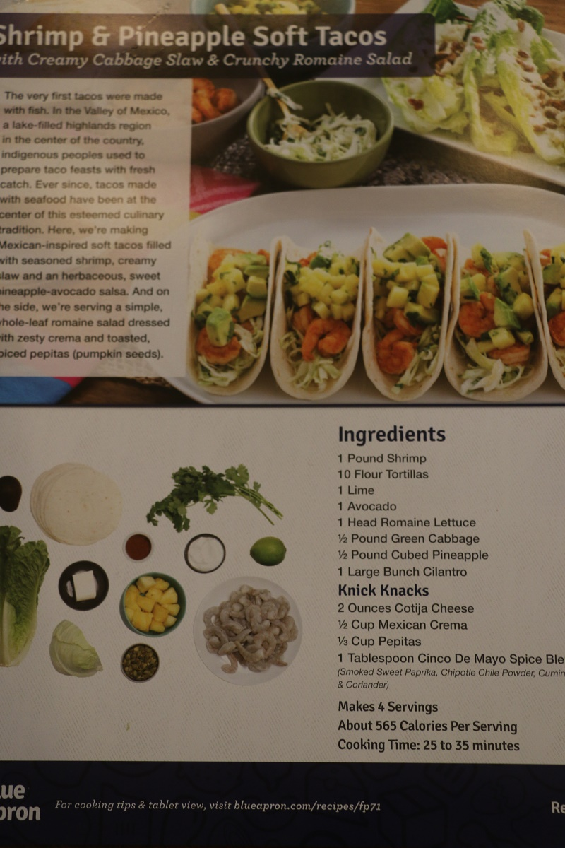 Blue apron tacos - Warning The Contents Of This Dinner Are Not The Same As Those Pictured